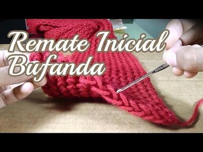 Remate Inicial de Bufanda tejida - Telar Rectangular