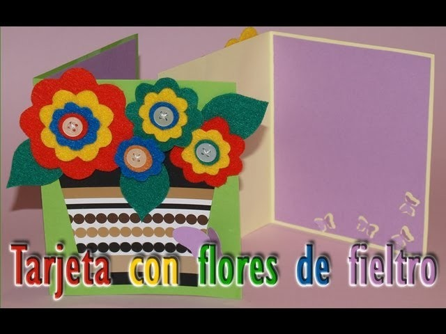 Tarjeta con Flores de Fieltro - DIY - Felt Flowers Card