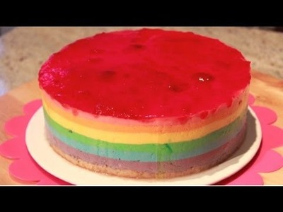 Tarta Arcoiris Mousse de Yogur - Rainbow Cake - Recetas de Postres