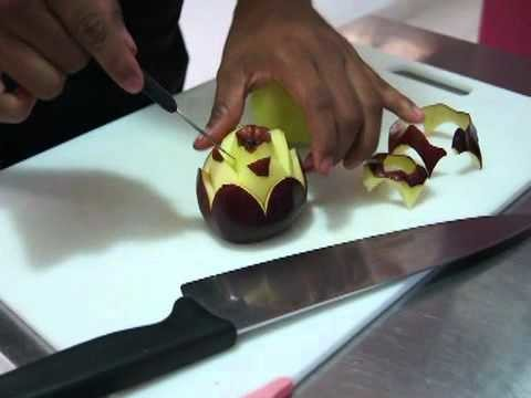 ☆ ARTE MUKIMONO 1. TALLADO DE FRUTAS (Con Manzanas) ☆ Colegio de Chef & Sommelier ☆