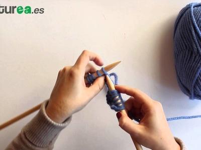 Cómo aumentar puntos a dos agujas
