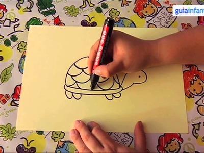 Cómo dibujar una tortuga. Dibujos de animales para niños.