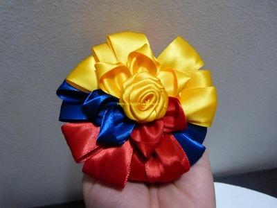 Como elaborar moños tricolores en cinta faciles para el cabello paso a paso