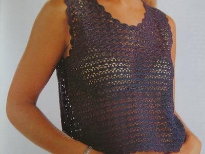 Como hacer blusa a crochet puntada conchas