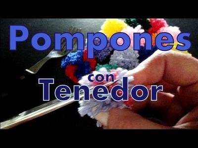 Cómo hacer pompones a 1 y 2 colores con un tenedor (pompom with fork) -tejido para zurdos-
