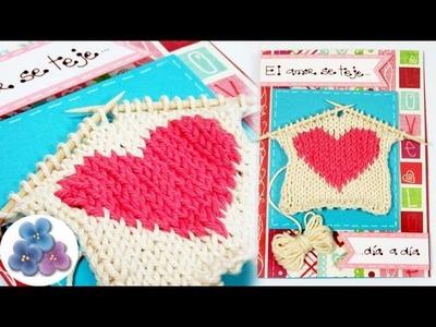 Como Hacer Tarjetas de Amor para San Valentín de Punto con 2 agujas Tutorial DIY Pintura Facil