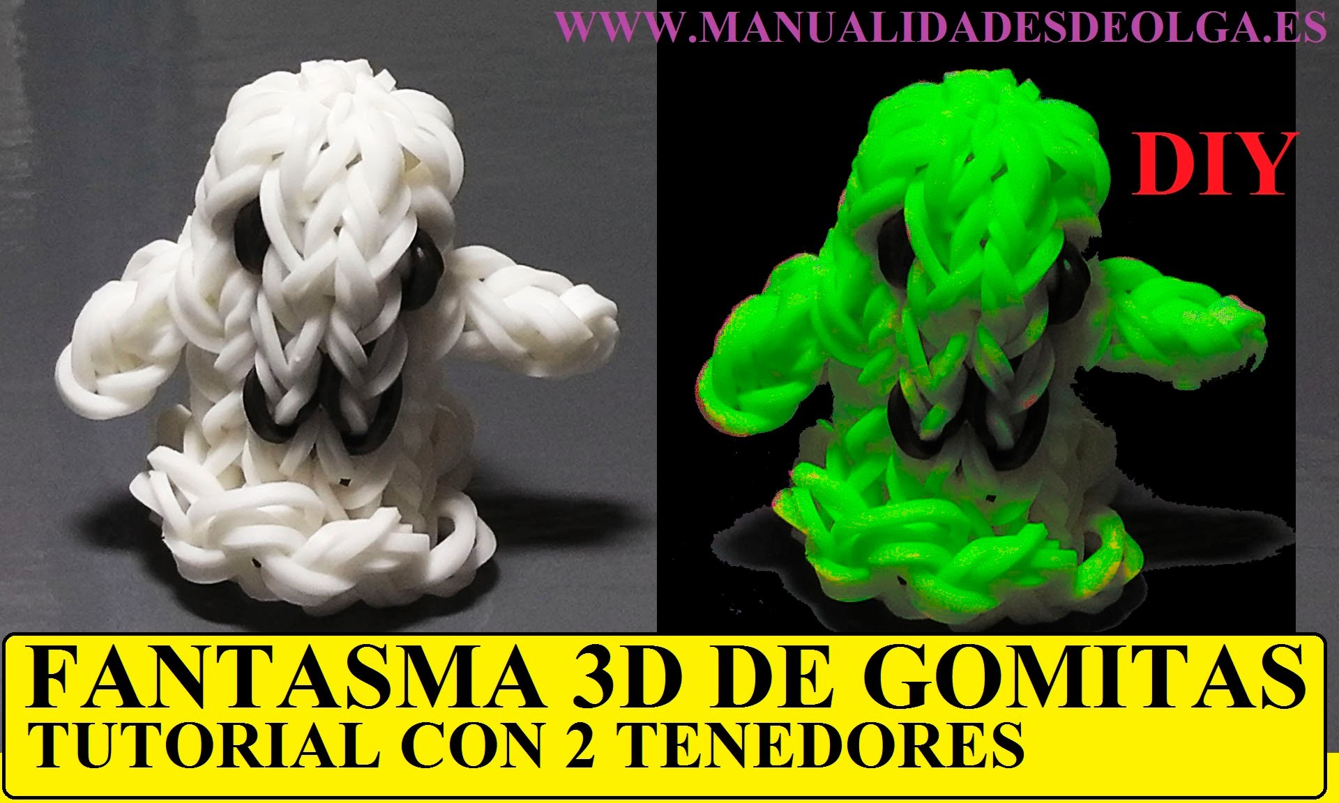COMO HACER UN FANTASMA 3D DE GOMITAS CON DOS TENEDORES. VIDEOTUTORIAL SIN TELAR