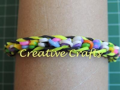 Como hacer una pulsera de gomitas con gomitas enrolladas. Rainbow Loom bracelet.