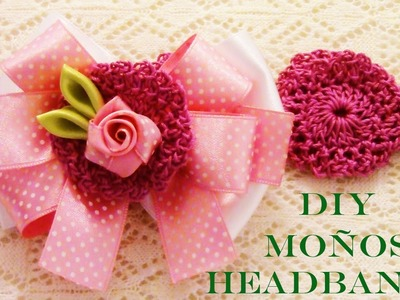 Flores moños diademas en cintas - DIY Kanzashi flowers in satin ribbons headbands