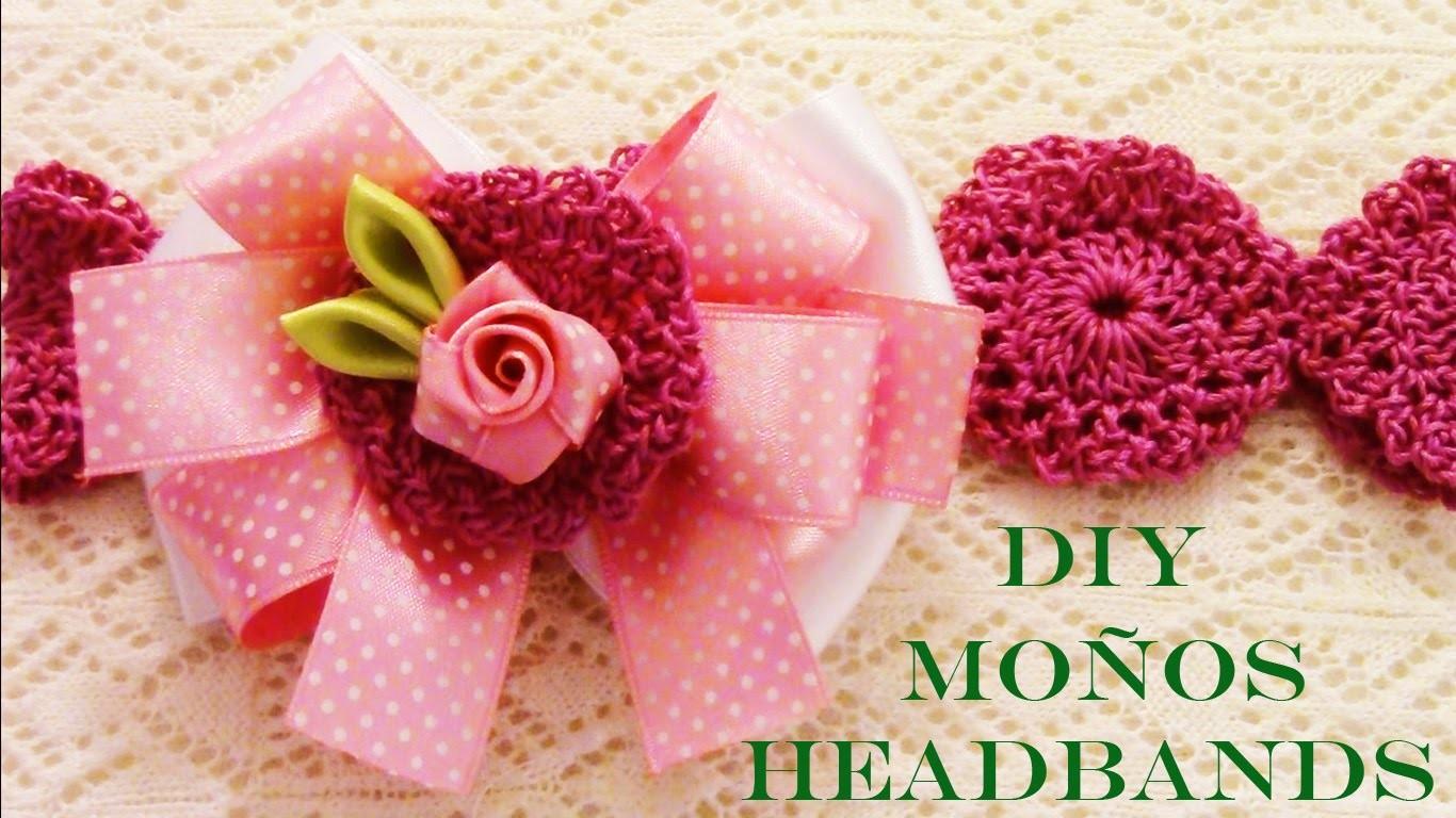 Flores moños diademas en cintas - DIY Kanzashi flowers in satin ribbons headbands