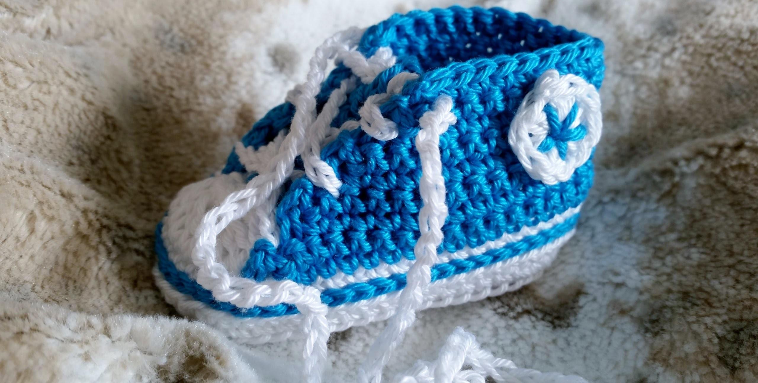 Sneakers para bebés - Tejer zapatillas de deporte – Parte 5.5 con subtítulos de BerlinCrochet