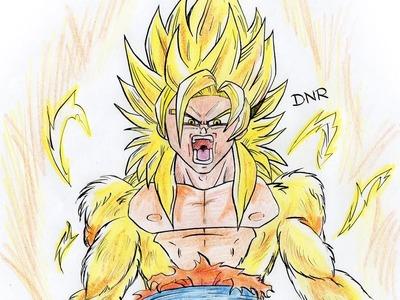 Como dibujar a Goku SSJ DIOS. How to Draw Goku ssj GOD