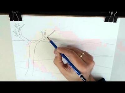 Cómo enseñar a niños dibujo artístico: Dibujar un paisaje realista. El planteamiento y el esbozo.