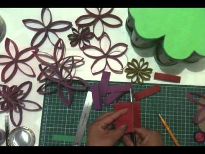 Como hacer flores con tubo de papel higienico