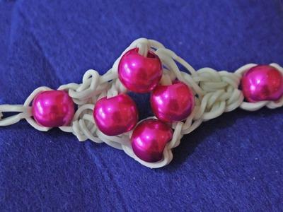 Cómo hacer pulsera de ligas o gomitas y perlas sin telar