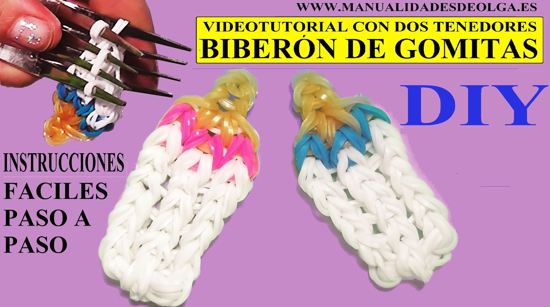 COMO HACER UN BIBERÓN DE GOMITAS CON DOS TENEDORES. VIDEOTUTORIAL FIGURA BABY BOTTLE CHARM