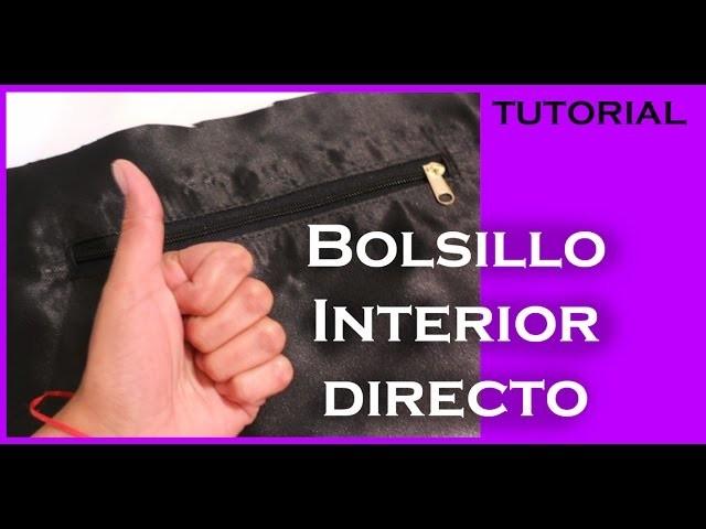 """Cómo hacer un Bolsillo interior """"directo"""" para bolsas forradas TUTORIAL Inerya viris"""