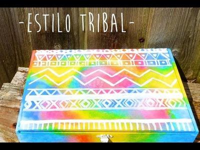 Como pintar cajas de madera - Estilo Tribal -. How to paint wooden boxes -