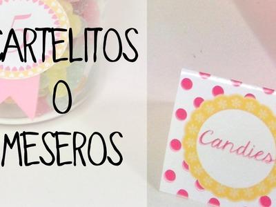 Decoración de mesas de dulces: cartelitos o meseros