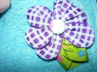 DIY como hacer una flor para el cabello  en cinta , tape flowers  No.75 Manualidades la hormiga