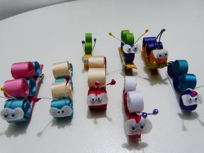 Lindas figuras miniatura gusanitos en cinta delgada gross o raso para clips del cabello