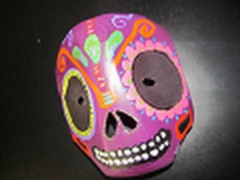 MÁSCARA Reciclada de calaverita mexicana para Día de Muertos.Halloween