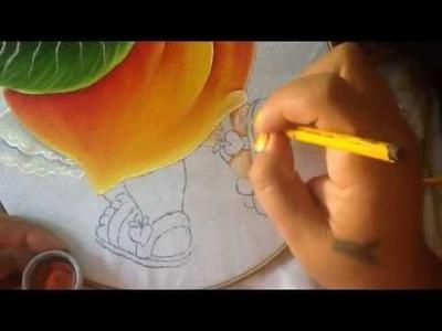 Pintura en tela niña durazno # 5 con cony