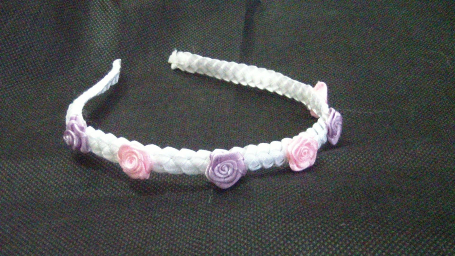 Vincha con trenzado en cintas.ribbons headband. proyecto 176