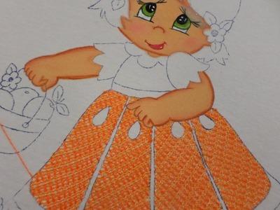 Bordado Fantasía Falda Niña Naranja