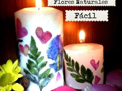 Decoración de velas con flores naturales cuchara fácil bonito regaló san Valentín Candles decorated.