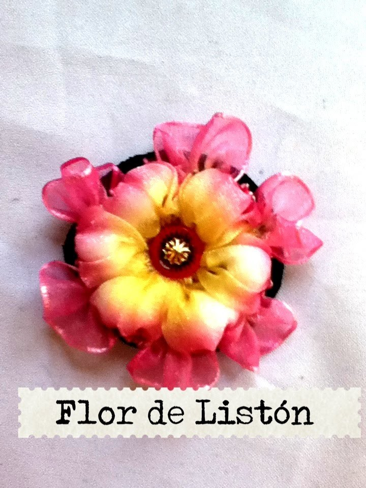 DIY como hacer flor 4 listón cinta juego de baño flowers liston