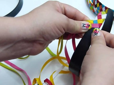 Diy.  Diademas forradas con cinta de 6 colores diferentes-  Vinchas trenzadas  paso a paso