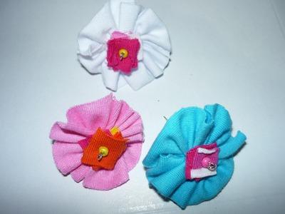 DIY flores en tela con retazos para decorar ganchos, clips  o moños para el cabello No.045