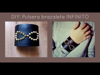 DIY: Pulsera brazalete Infinito de cuero y tachuelas (Patrón gratis)