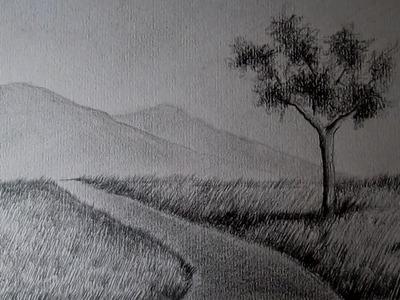 El paisaje más fácil del mundo, cómo dibujar paisajes a lápiz paso a paso