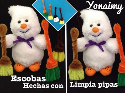 ESCOBAS HECHAS CON  LIMPIA PIPAS PARA  HALLOWEEN .- DIY, PIPE CLEANER  BROOMS .