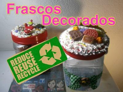 Frascos  Decoden  Porcelana Fría  como quitar la etiqueta a los frascos.How to make decorative jars