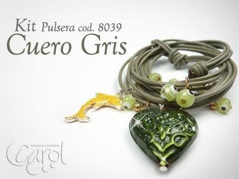 KIT 8039 Kit Pulsera Cuero Gris x und