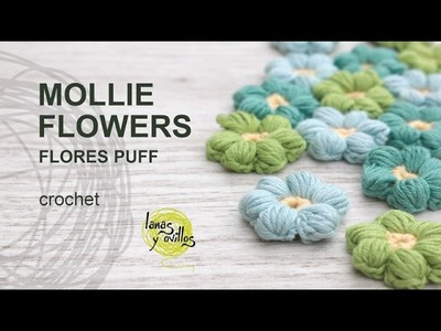 Tutorial Mollie Flowers o Flores Puff Crochet o Ganchillo Español