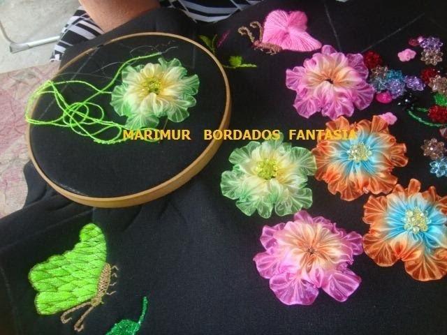 Bordado Fantasia Panera Mariposa   y  Hoja   marimur  425