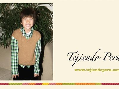 Chaleco tejido en dos agujas o palillos para niños de 7 a 9 o 10 años