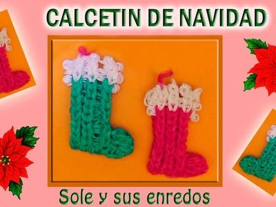 Cómo hacer un Calcetín (decoración  Navidad) con gomitas elásticas