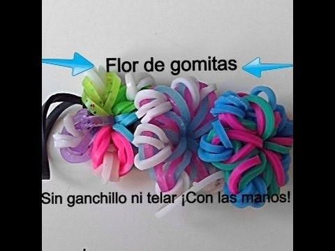 Como hacer una flor de gomitas sin ganchillo ni telar