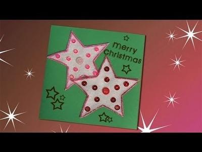Idea de una postal de Navidad con estrellas, manualidades