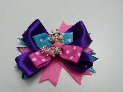 Moños para el cabello decorados con mariposas en cinta  No. 346  Manualidades la Hormiga
