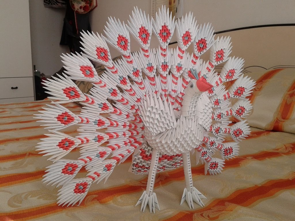 Origami 3d  How to make 3d origami peacock