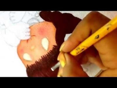 Pintura en tela niña sandia uno con cony