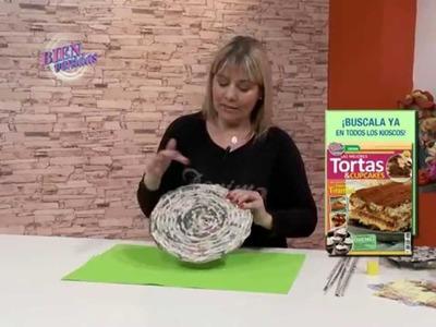 Silvina Buquete - Bienvenidas TV en HD -  Crea un plato para tortas en cestería.