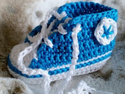 Sneakers para bebés - Tejer zapatillas de deporte – Parte 4.5 con subtítulos de BerlinCrochet