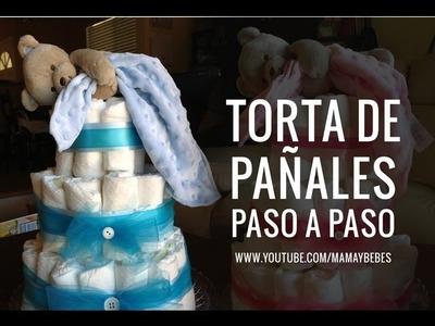 TORTA DE PAñALES paso a paso - Cómo hacer un diaper cake o tarta de pañales para baby shower